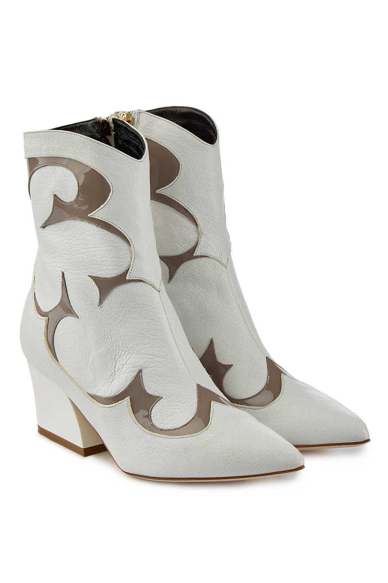 Tibi Felix Leather Ankle Boots with Patent Trims GOOFASH 292813