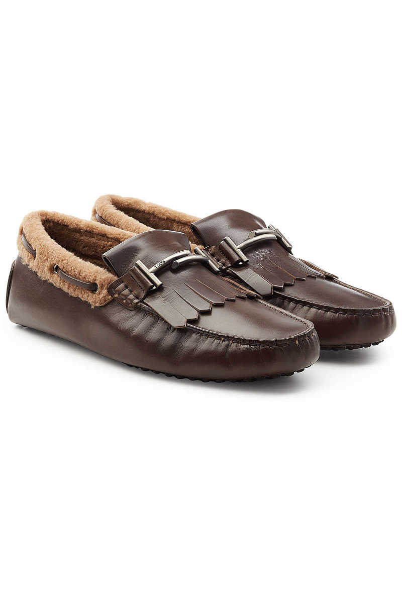 Tod's Leather Loafers with Shearling Insole GOOFASH 278272