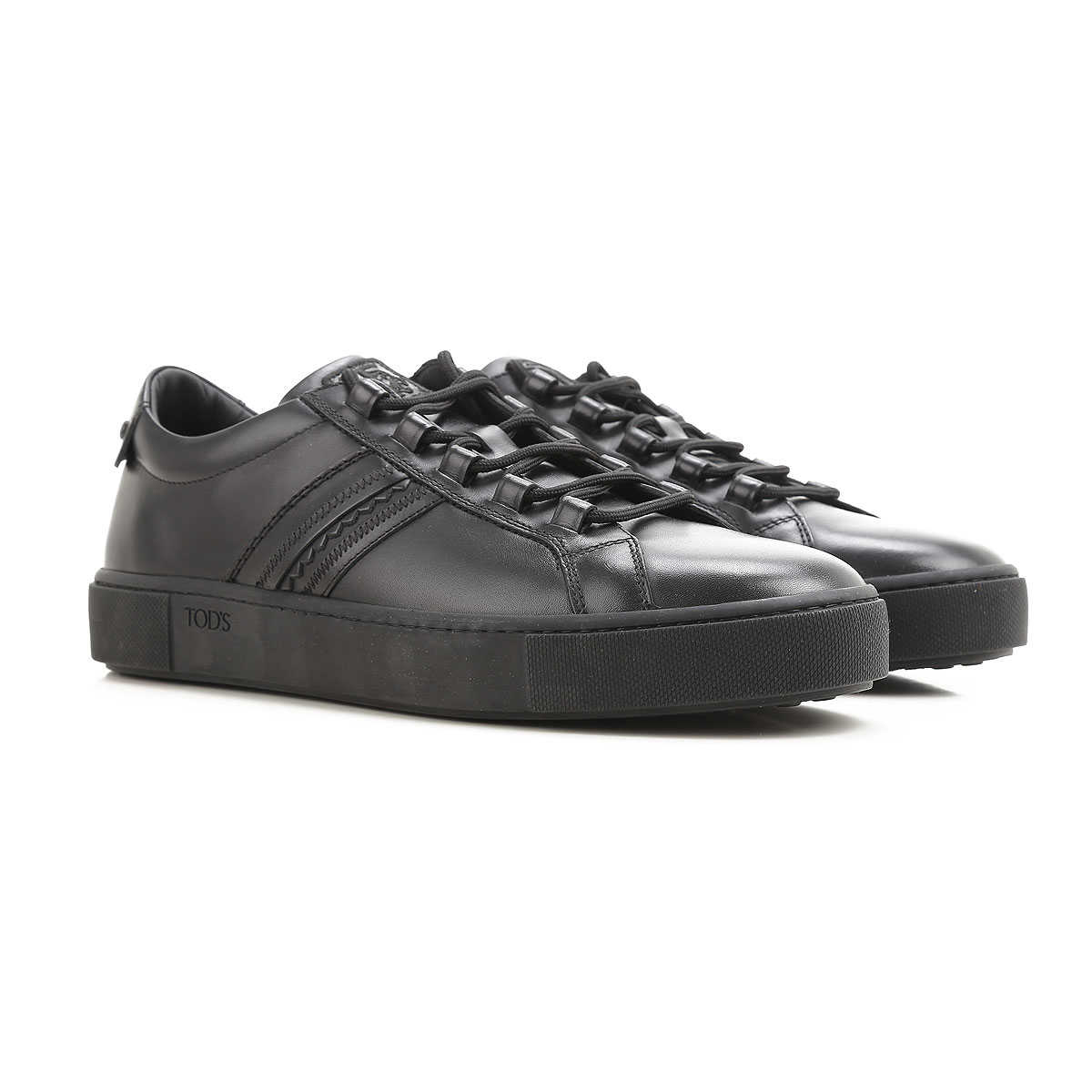 Tods Sneakers for Men, Black, Leather
