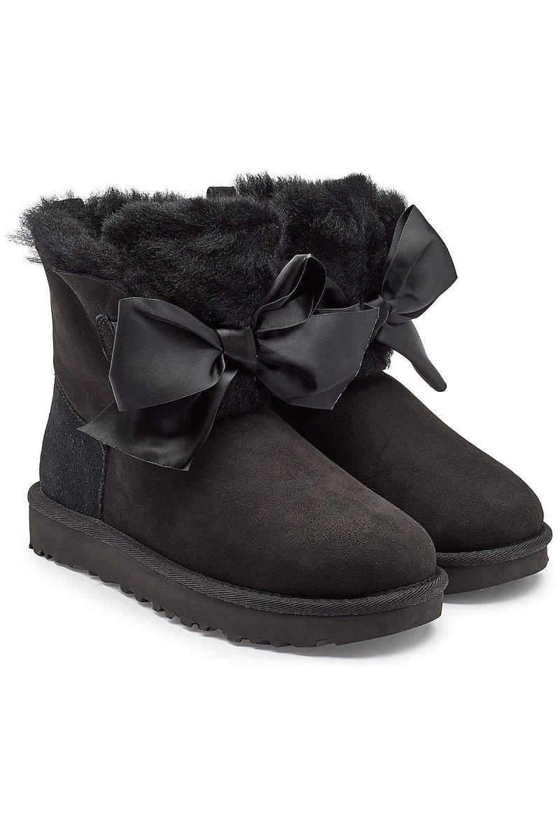 UGG Gita Bow Suede Boots with Shearling GOOFASH 294140