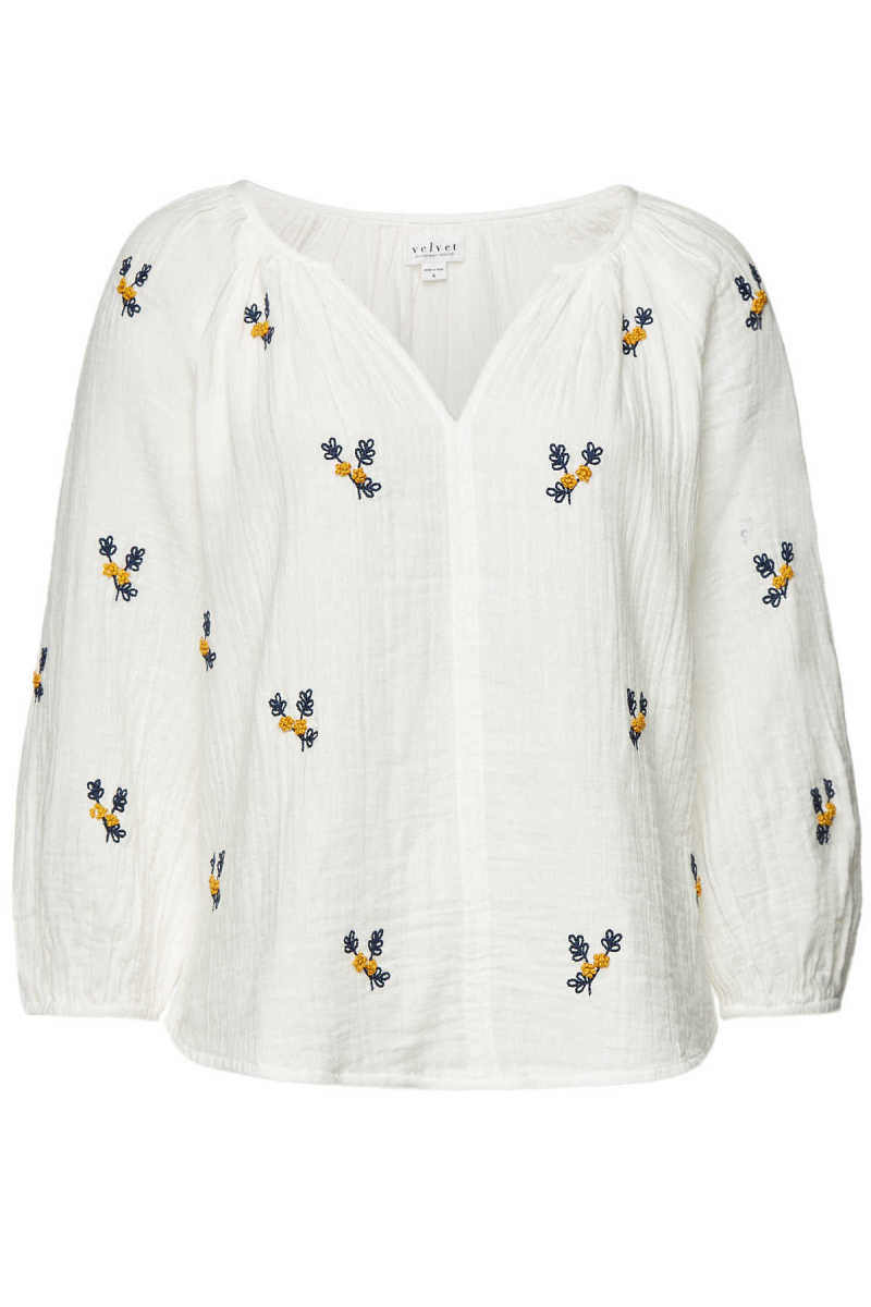 Velvet Embroidered Cotton Selma Blouse - white - GOOFASH - 300624