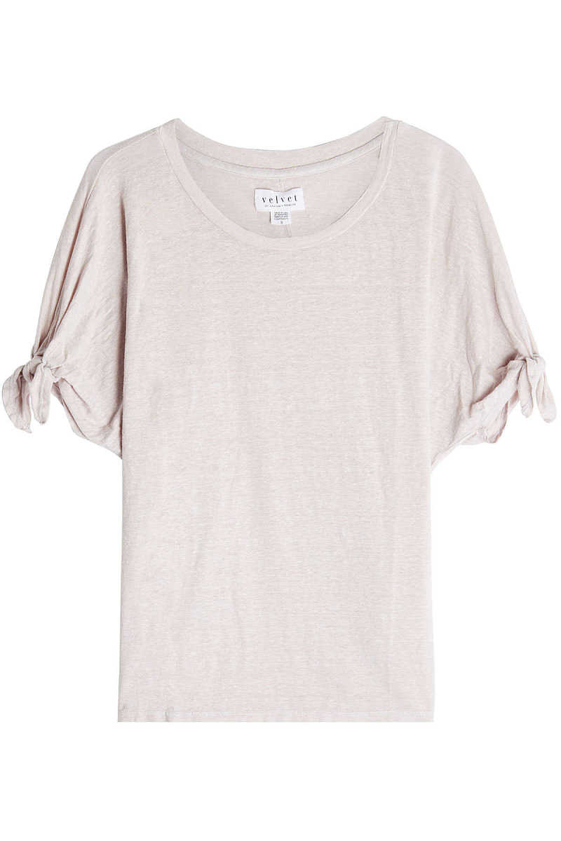 Velvet Linen Top with Knotted Sleeves GOOFASH 268919