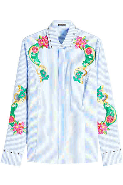Versace Embroidered and Embellished Cotton Shirt GOOFASH 283885