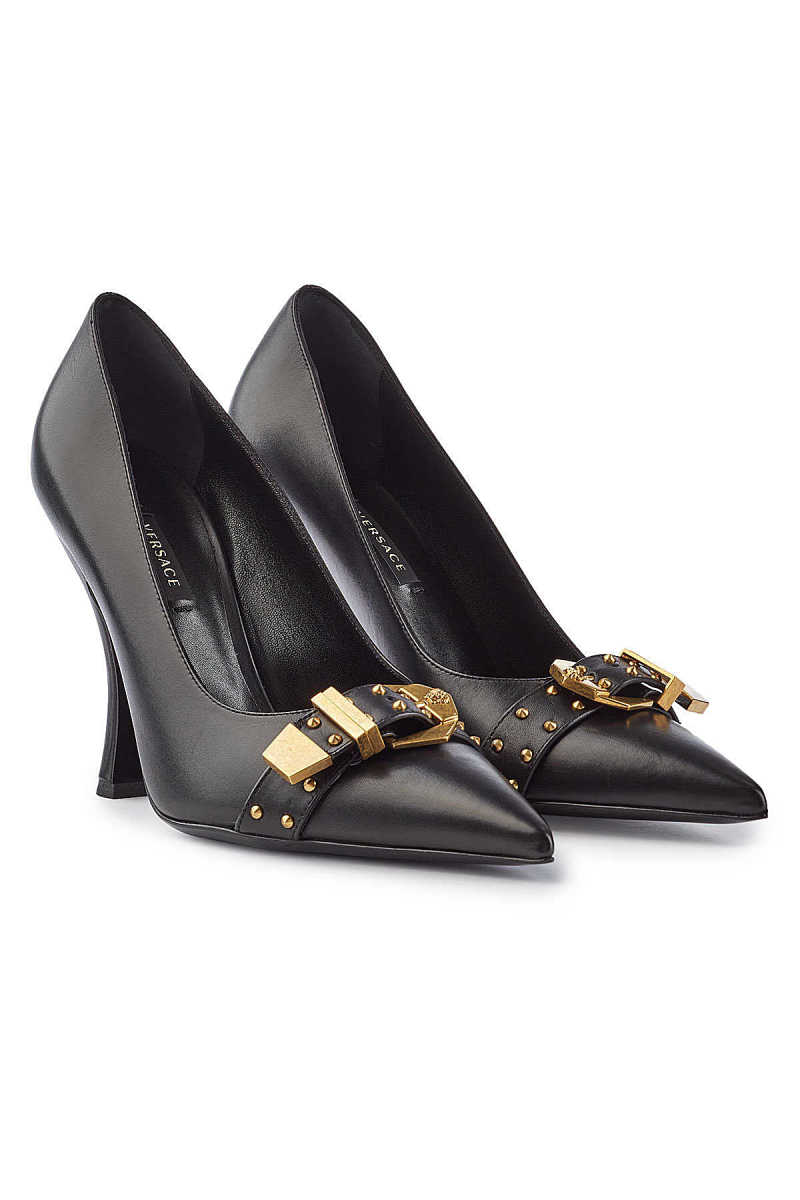 Versace Leather Pumps with Studs GOOFASH 291742