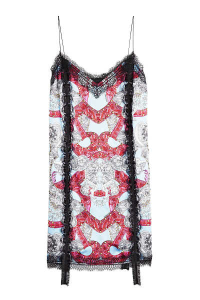 Versace Printed Dress with Lace GOOFASH 283893