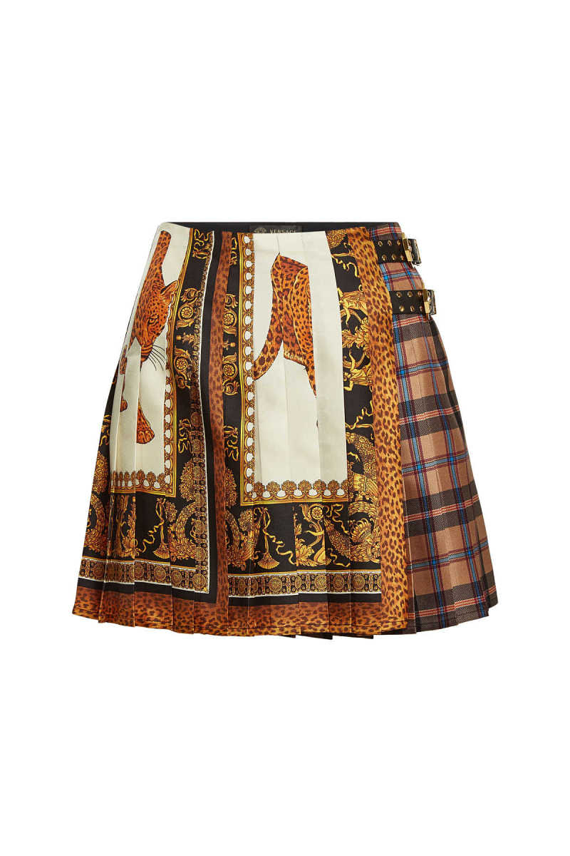 Versace Printed Silk Skirt with Leather Buckles GOOFASH 291554