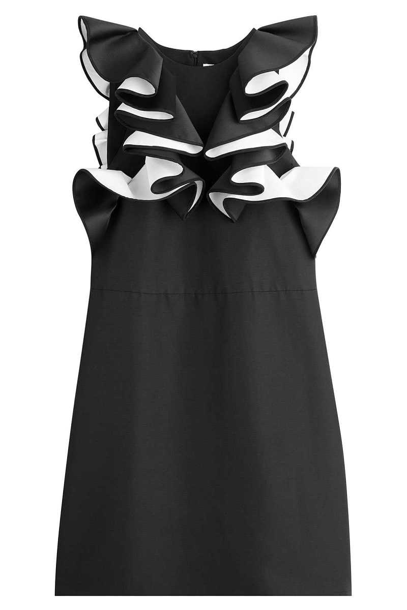 Victoria Victoria Beckham Micro Faille Double Ruffle Shift Dress GOOFASH 250135