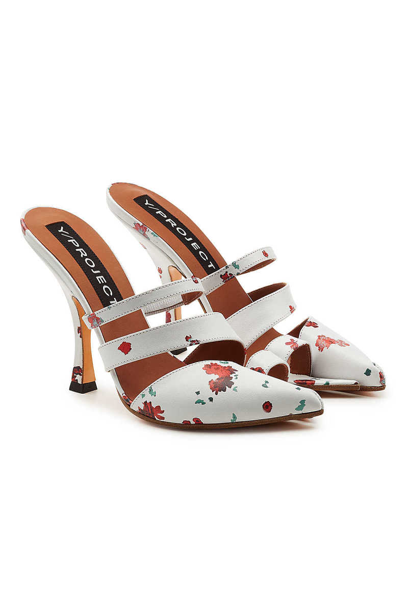 Y/Project Open Toe Printed Leather Mules GOOFASH 285533