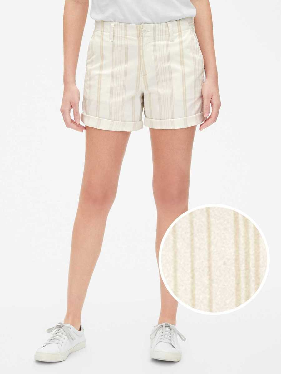 "5"" Girlfriend Stripe Chino Pant Shorts New Off White Stripe - Gap - GOOFASH"
