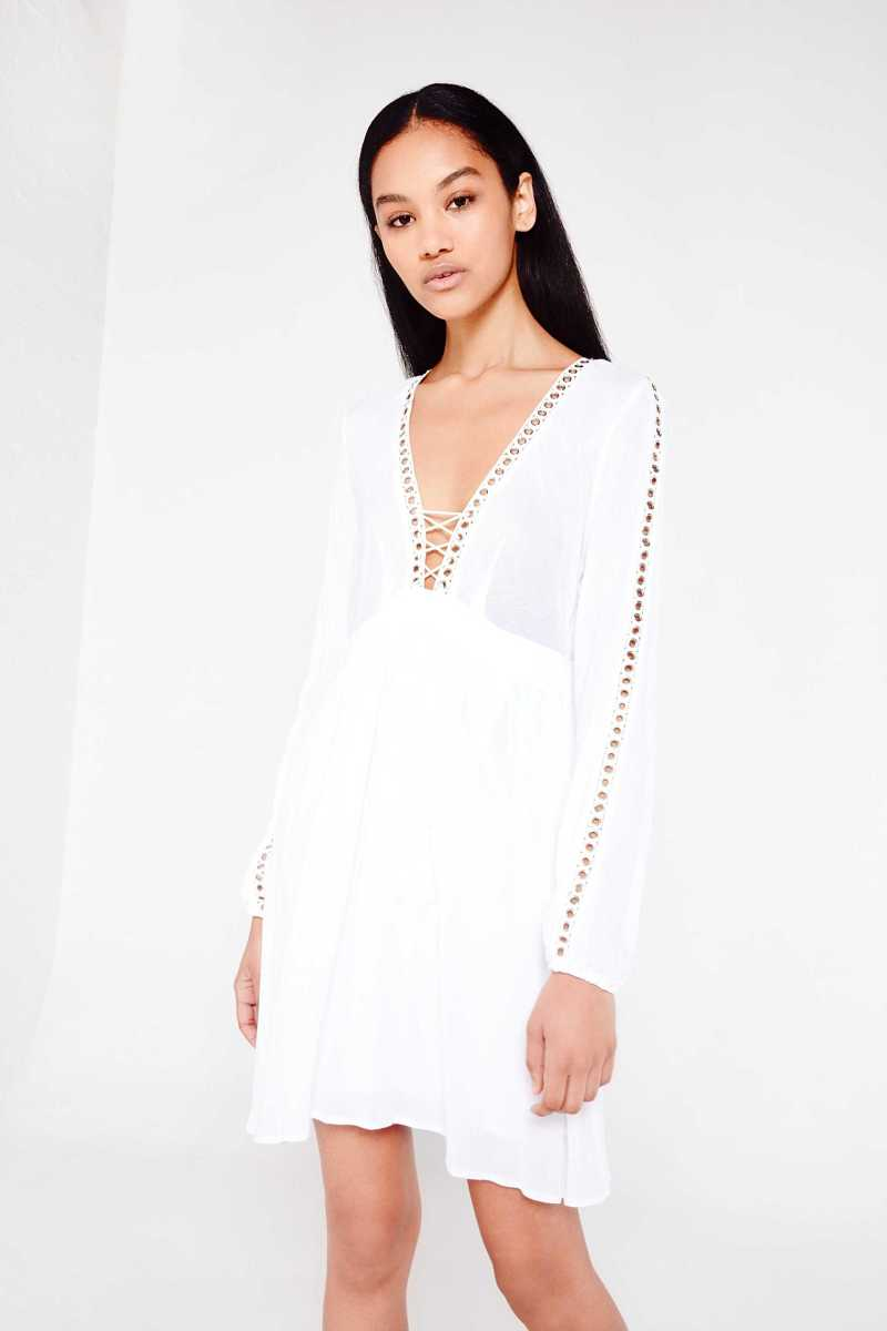 AMT Eyelet Detail Lace Up Dress - Own The Look - GOOFASH
