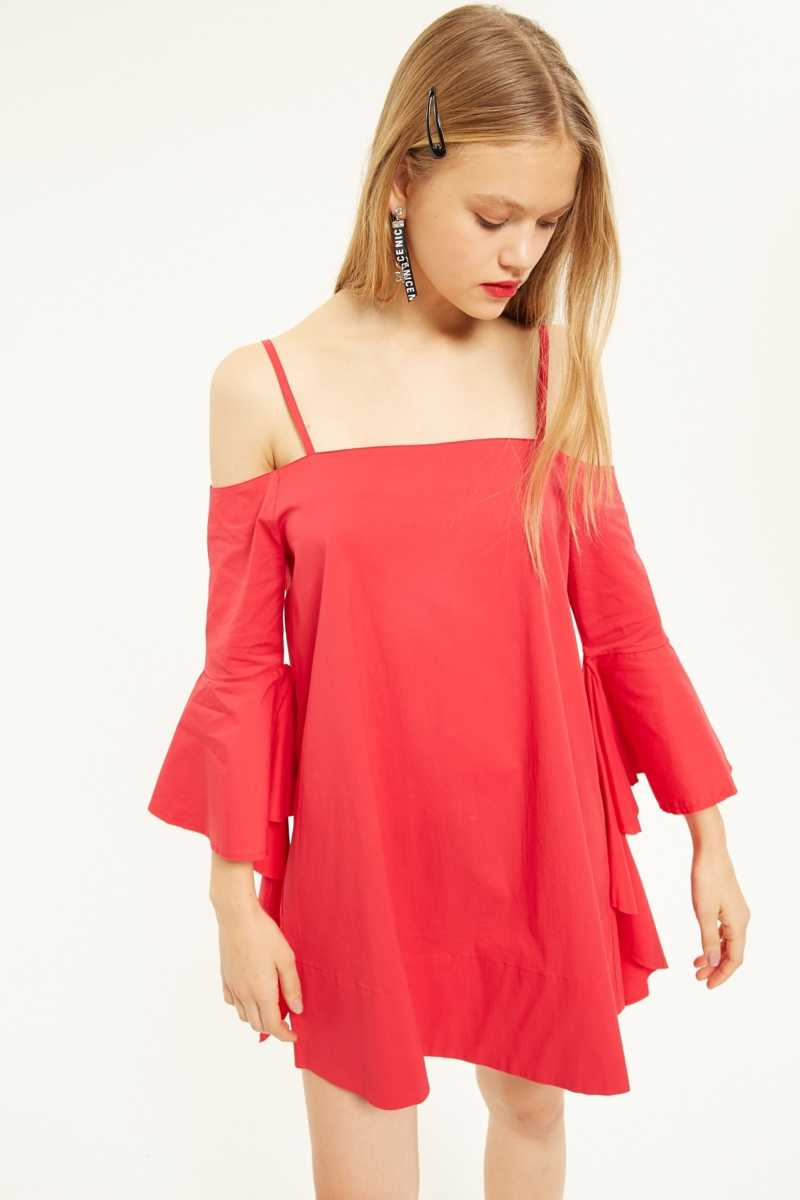 AMT Off-the-shoulder Dress with Flute Hem Cuff  - Red - Own The Look - GOOFASH