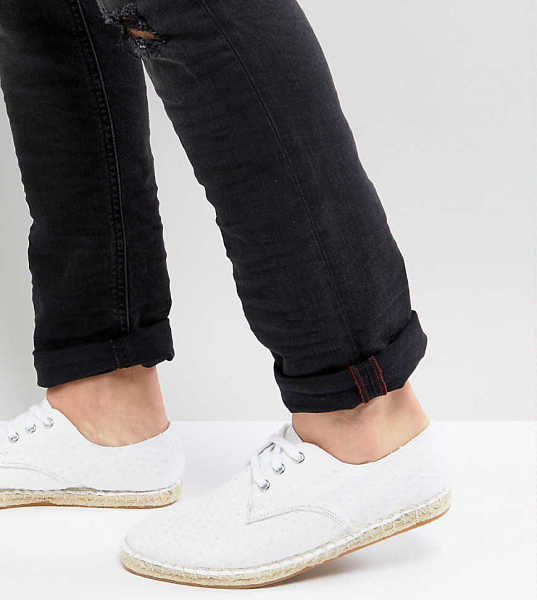 ASOS DESIGN Wide Fit lace up espadrilles in white textured canvas - White - Asos - GOOFASH