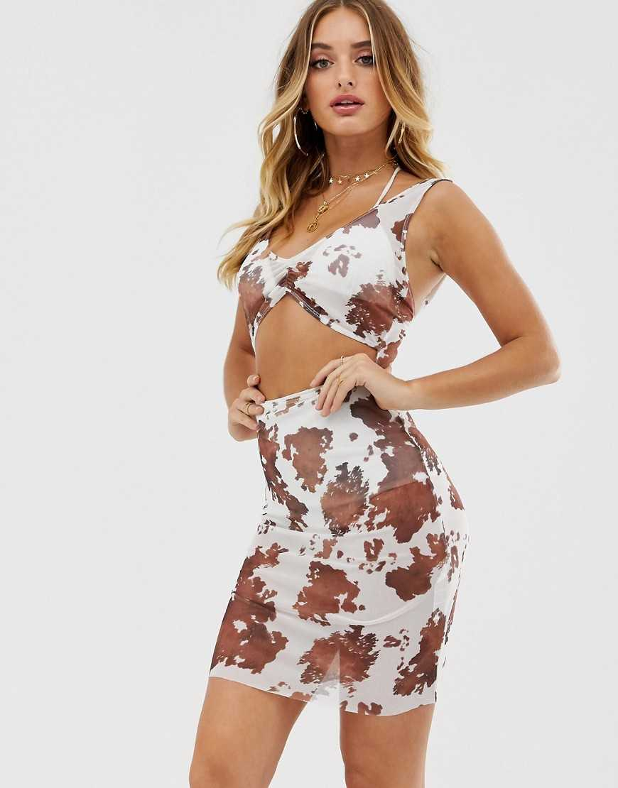 ASOS DESIGN bodycon jersey beach dress in cow print with cut out detail - Multi - Asos - GOOFASH