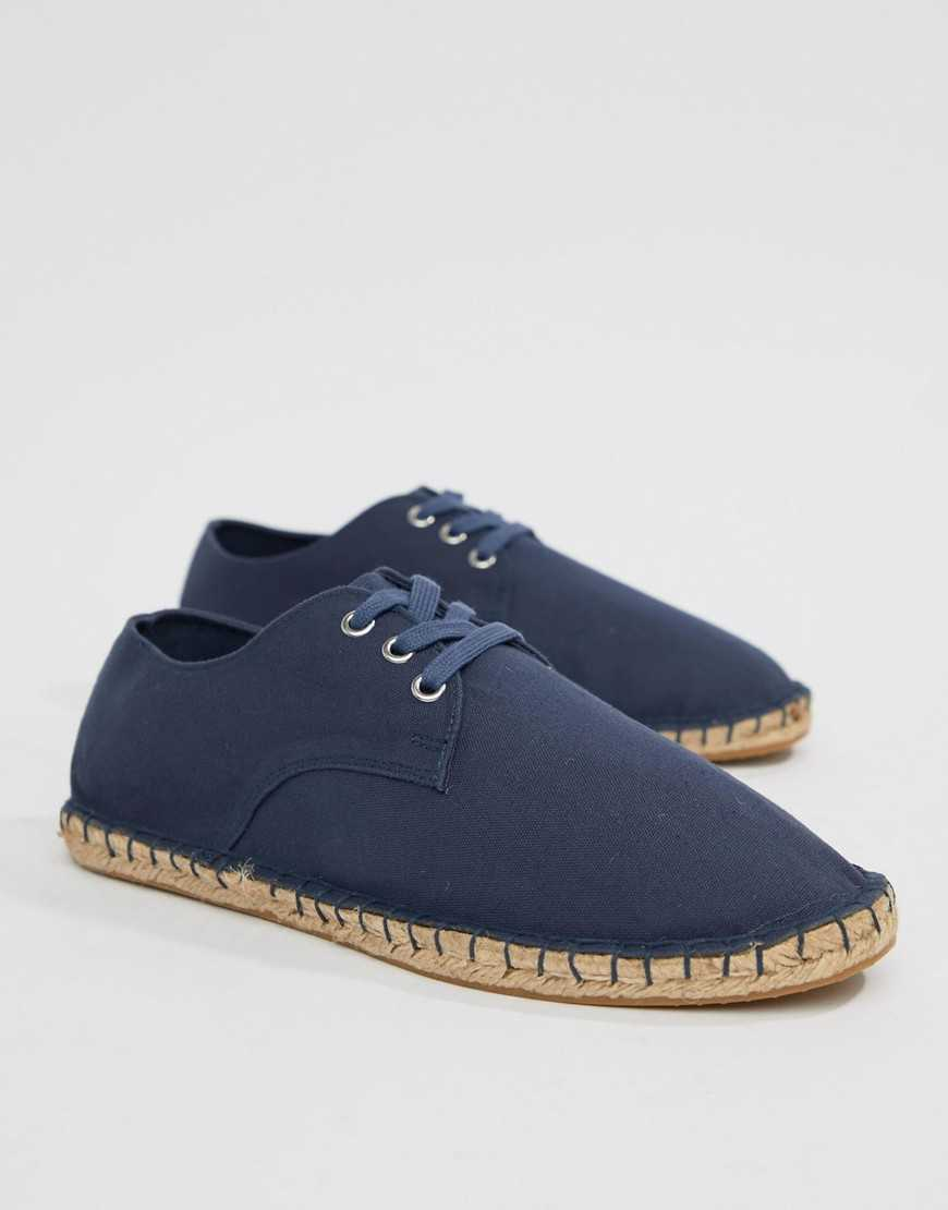 ASOS DESIGN derby espadrilles in navy canvas - Navy - Asos - GOOFASH