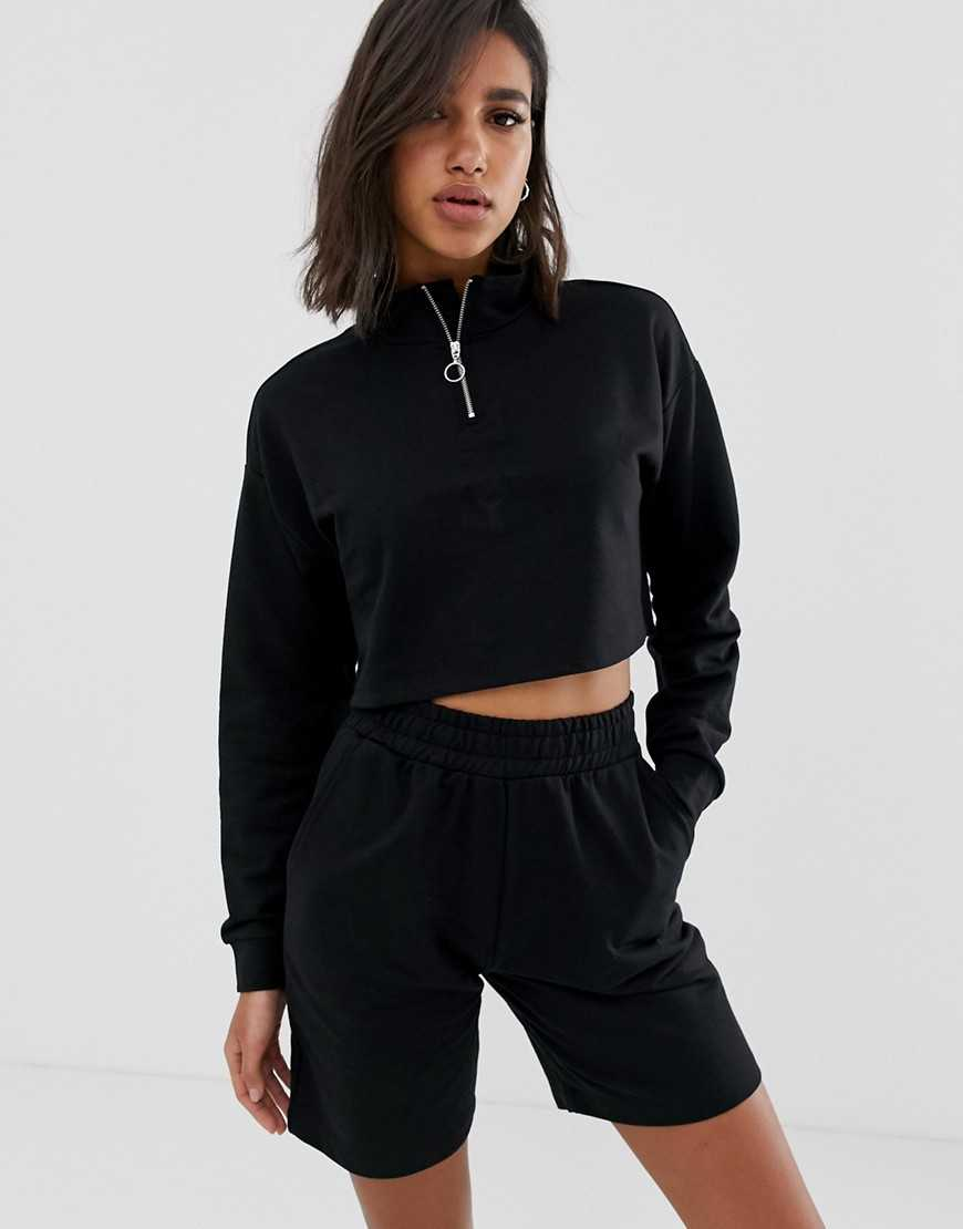 ASOS DESIGN short & zip up sweat set - Black - Asos - GOOFASH