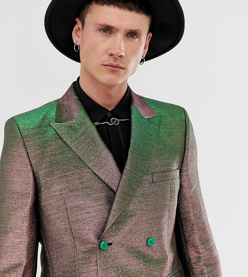 ASOS EDITION slim double breasted suit jacket in pink two tone metallic - Pink - Asos - GOOFASH