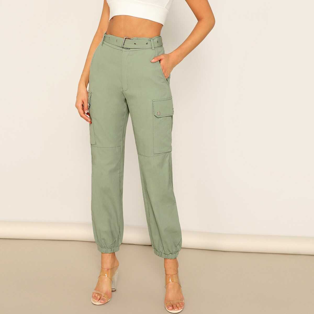 Adjustable Belted Solid Cargo Pants - Shein - GOOFASH