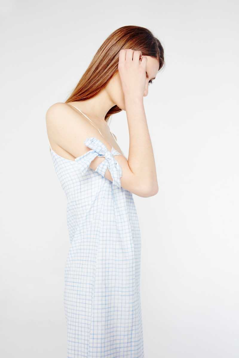 After Market Check Slip Dress With Dropped Hem  - Blue - Own The Look - GOOFASH