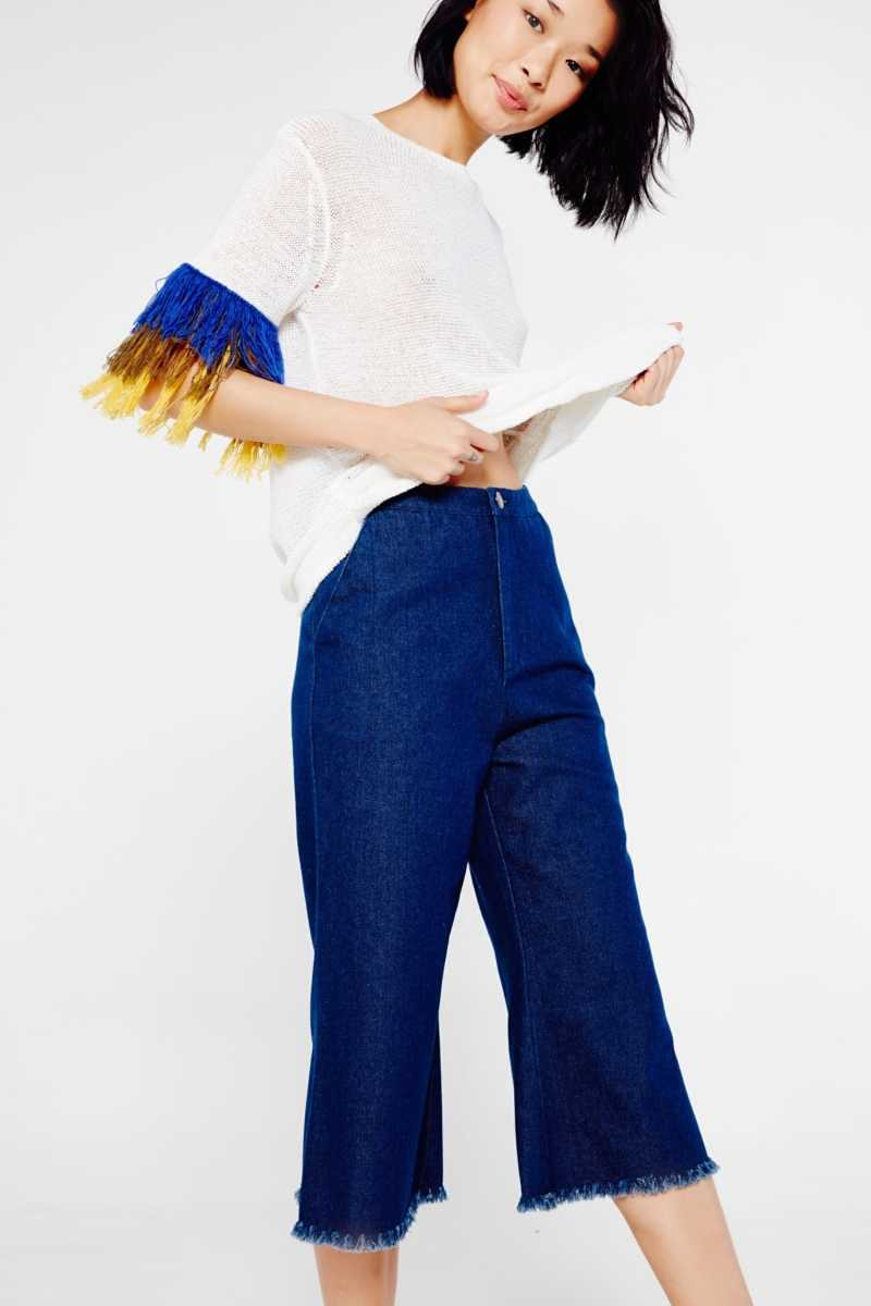 After Market Cropped Denim Trousers With Frayed Hem  - Blue - Own The Look - GOOFASH