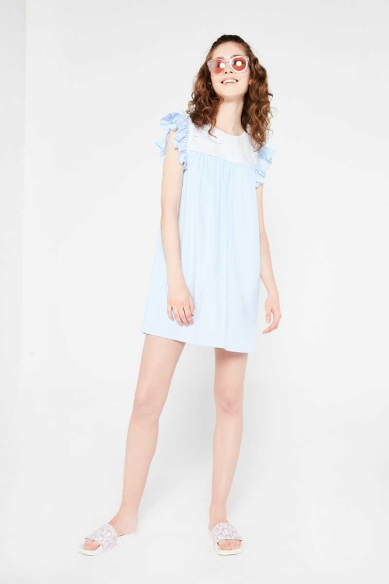 After Market Ruffle Mini Dress With Sequin Detail  - Blue - Own The Look - GOOFASH