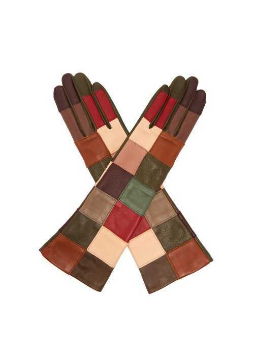 Agnelle - Angelina Leather Patchwork Gloves - Multicolored Multicolored - Matches Fashion - GOOFASH