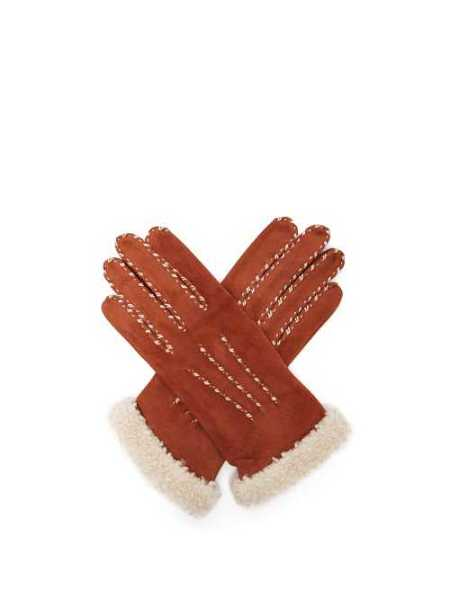 Agnelle - Suede And Wool Trimmed Gloves - Camel Camel - Matches Fashion - GOOFASH