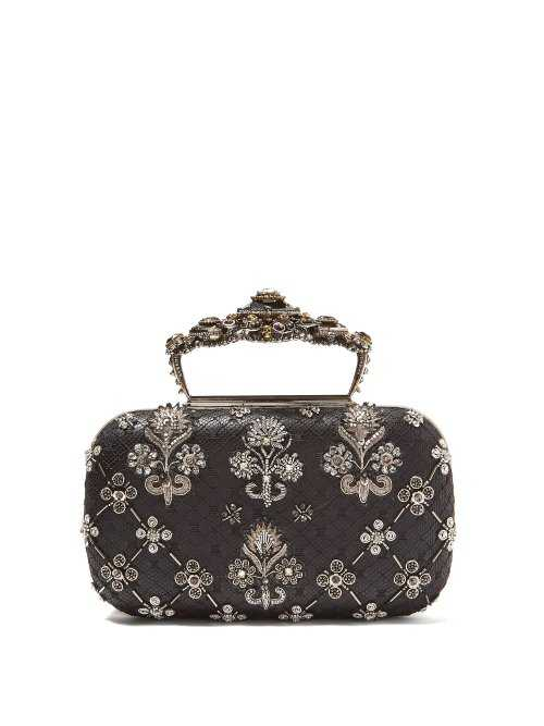 Alexander Mcqueen - Jewelled Top Handle Leather Clutch Bag - Silver Silver - Matches Fashion - GOOFASH