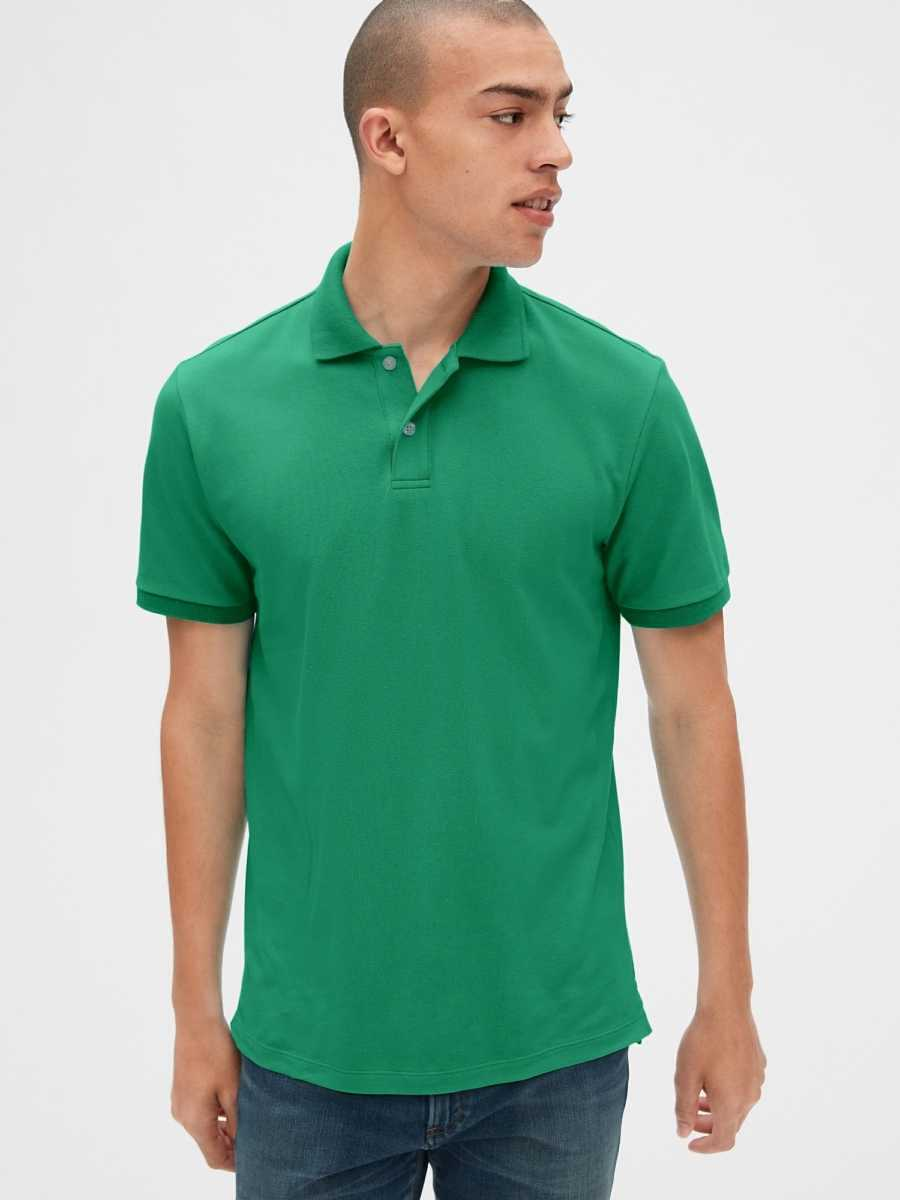 All Day Pique Polo Shirt Shirt Clover Green - Gap - GOOFASH
