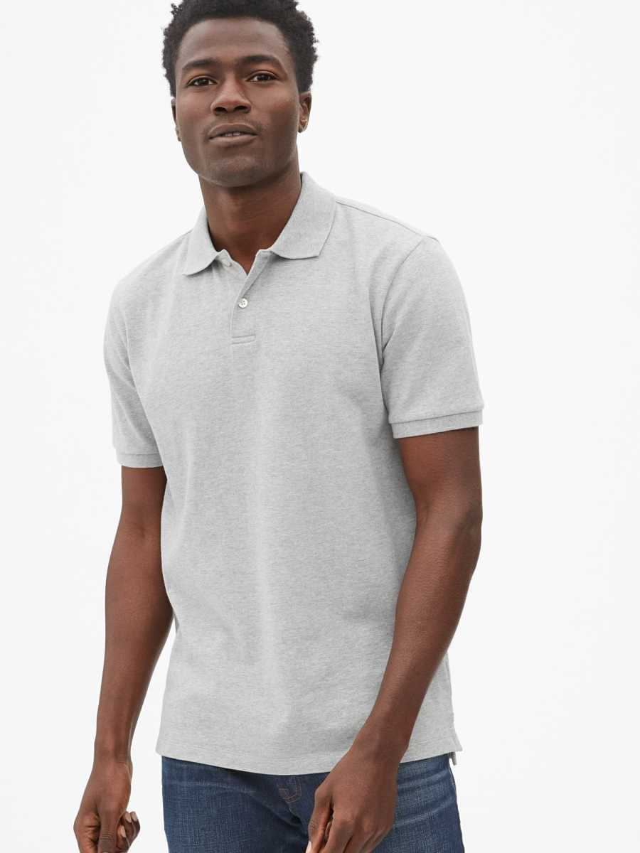 All Day Pique Polo Shirt Shirt Light Grey - Gap - GOOFASH