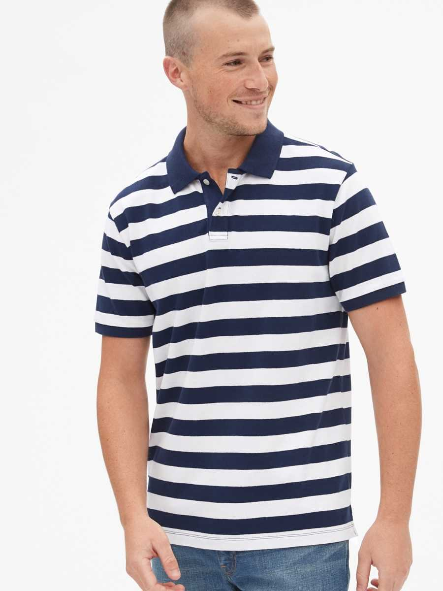All Day Pique Polo Shirt Shirt Navy & White Stripe - Gap - GOOFASH