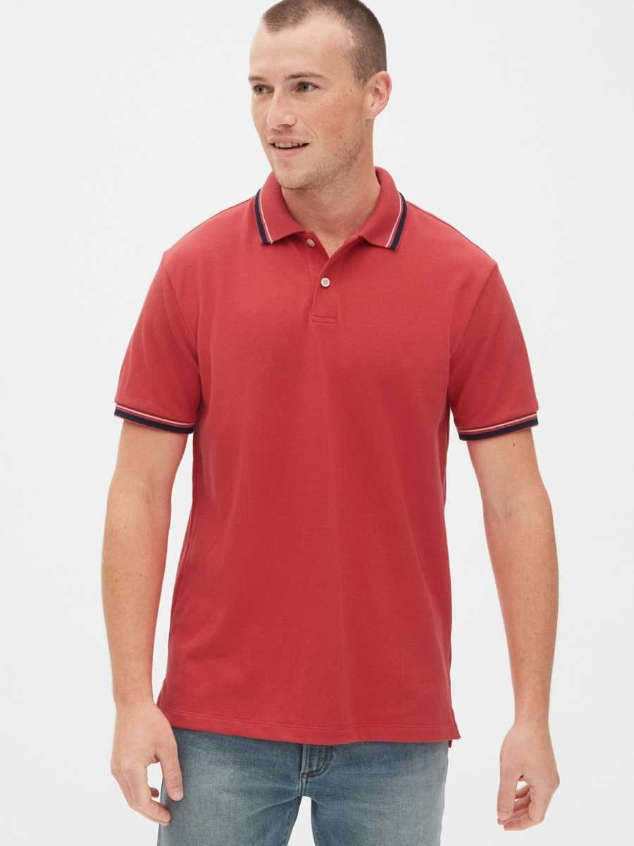 All Day Pique Polo Shirt Shirt Weathered Red - Gap - GOOFASH