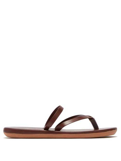 Ancient Greek Sandals - Cross Over Leather Slides - Brown Brown - Matches Fashion - GOOFASH