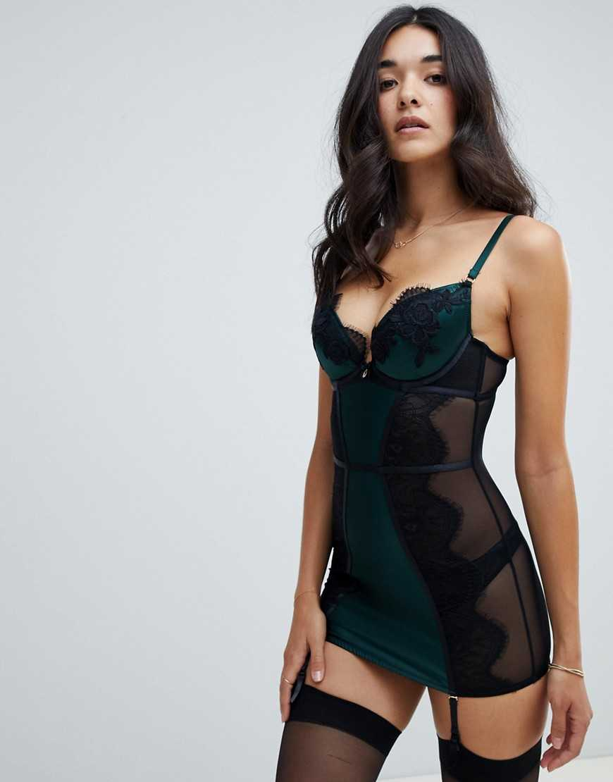 Ann Summers Forest lace cami suspender dress - Green - Asos - GOOFASH