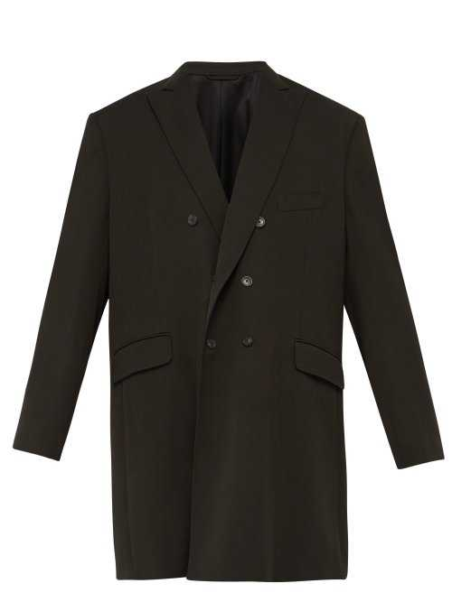 Balenciaga - Double Breasted Wool Blend Twill Overcoat - Green Green - Matches Fashion - GOOFASH
