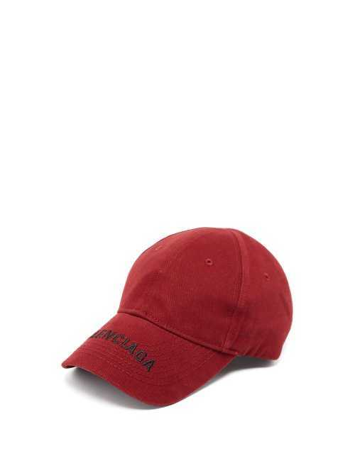 Balenciaga - Embroidered Logo Cotton Cap - Burgundy Burgundy - Matches Fashion - GOOFASH