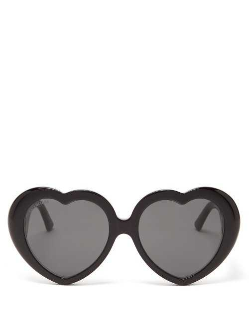 Balenciaga - Heart Shaped Acetate Sunglasses - Black Black - Matches Fashion - GOOFASH