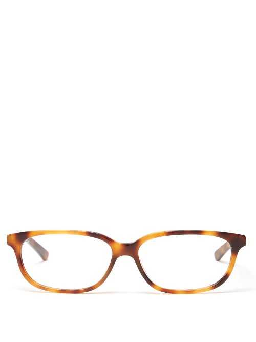 Balenciaga - Tortoiseshell Rectangular Acetate Glasses - Beige Beige - Matches Fashion - GOOFASH