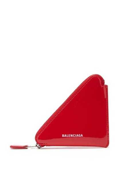 Balenciaga - Triangle Patent Leather Coin Purse - Red Red - Matches Fashion - GOOFASH