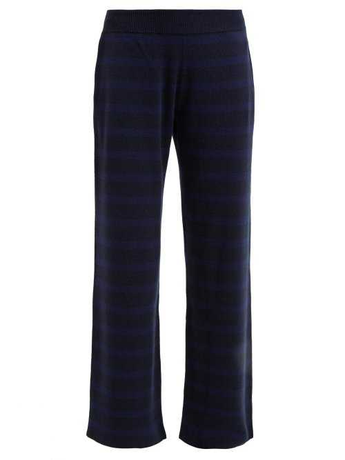 Barrie - Rib Knitted Cashmere Track Pants - Blue Blue - Matches Fashion - GOOFASH