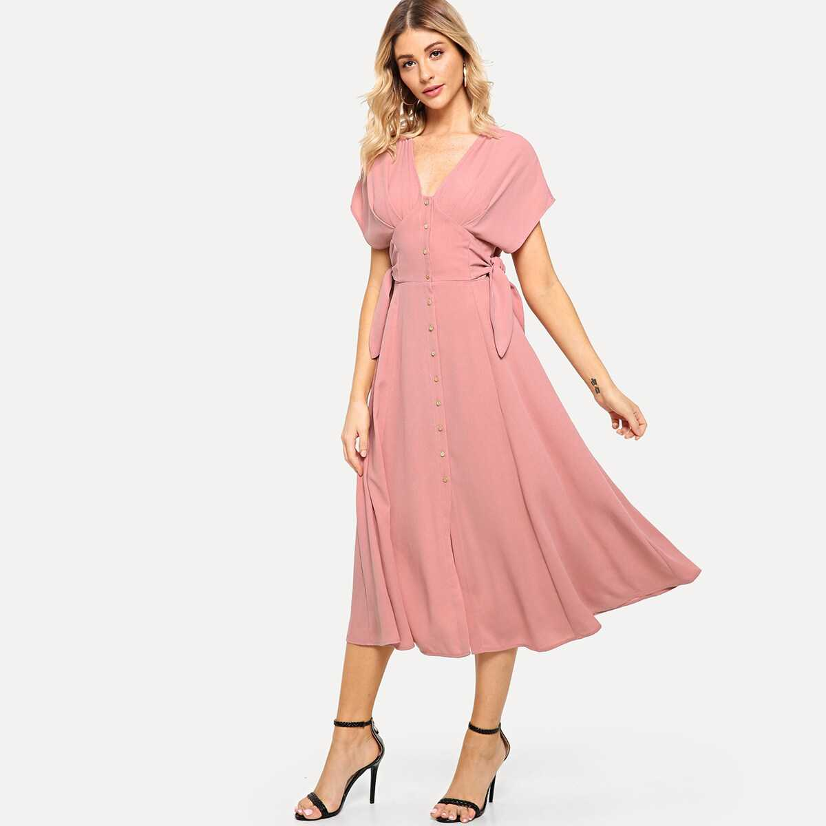 Batwing Sleeve Knot Side Button Up Dress - Shein - GOOFASH