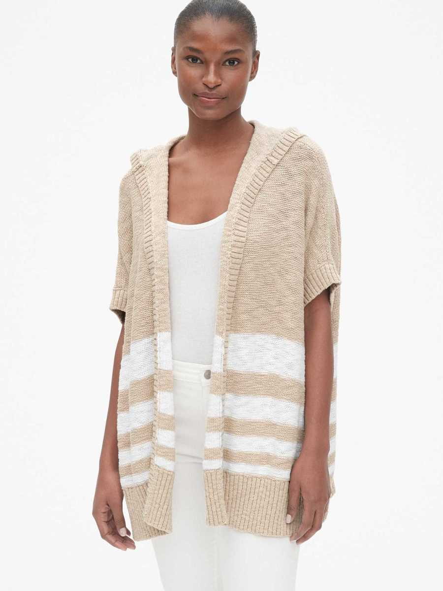Beach Cardigan Oatmeal Stripe - Gap - GOOFASH
