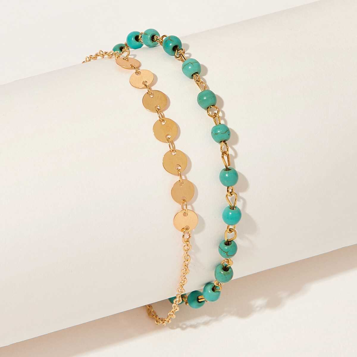 Beaded Double Layered Chain Ankle 1pc - Shein - GOOFASH