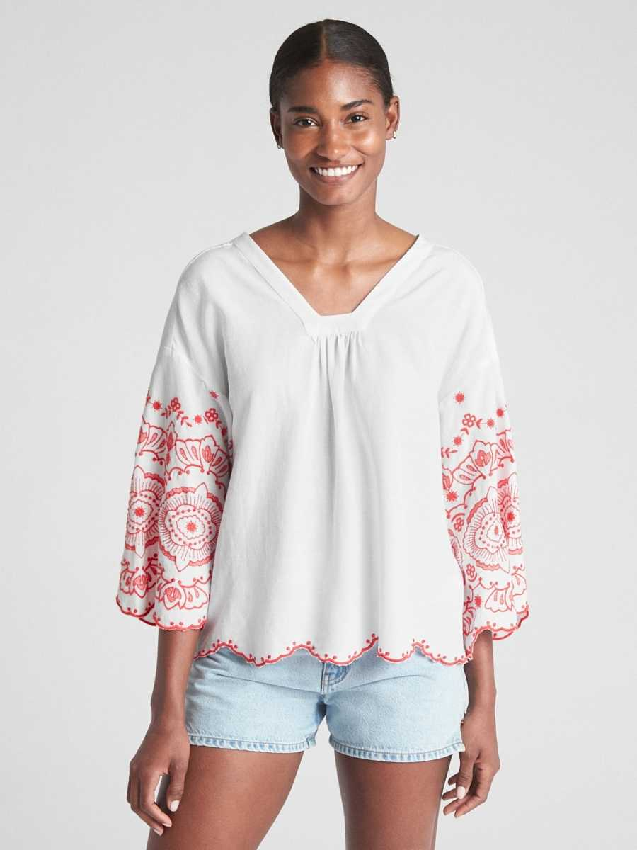 Bell Sleeve Embroidered Blouse White - Gap - GOOFASH