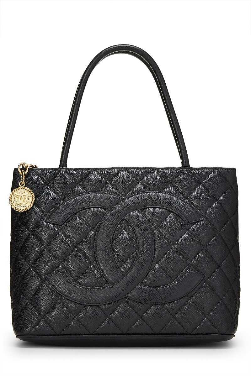 Black Quilted Caviar Medallion Tote - What Goes Around Comes Around - GOOFASH