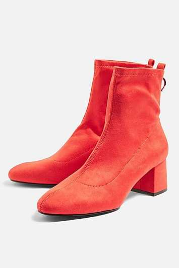 Blossom Ankle Boots - Red - Topshop - GOOFASH - 602018001258484