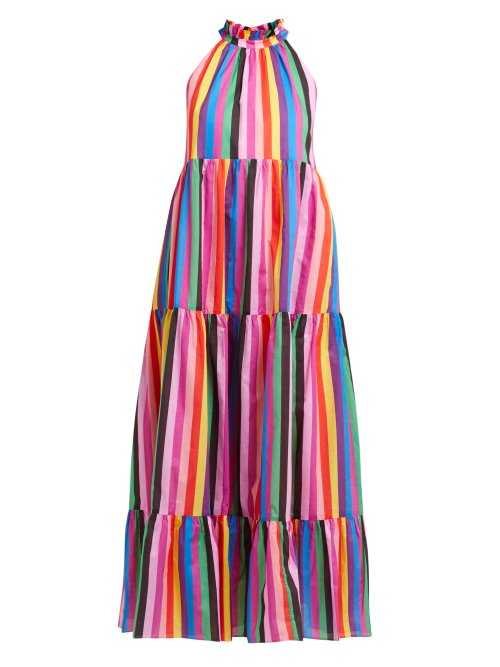 Borgo De Nor - Pandora Rainbow Print Cotton Maxi Dress - Multicolored Multicolored - Matches Fashion - GOOFASH