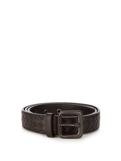 Bottega Veneta - Intrecciato Leather 3.5cm Belt - Brown Brown - Matches Fashion - GOOFASH
