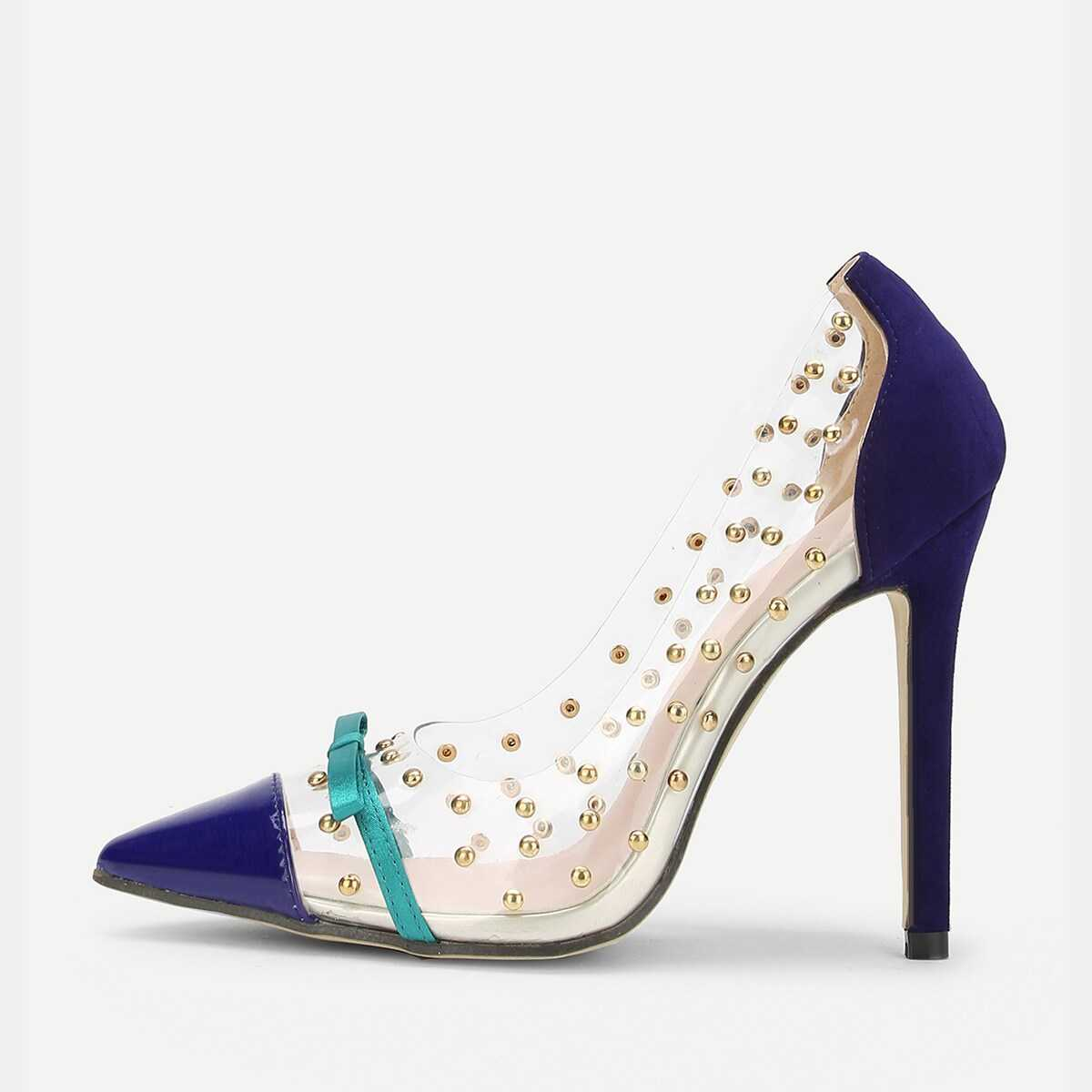 Bow Detail Pointed Toe Pumps With Studded - Shein - GOOFASH