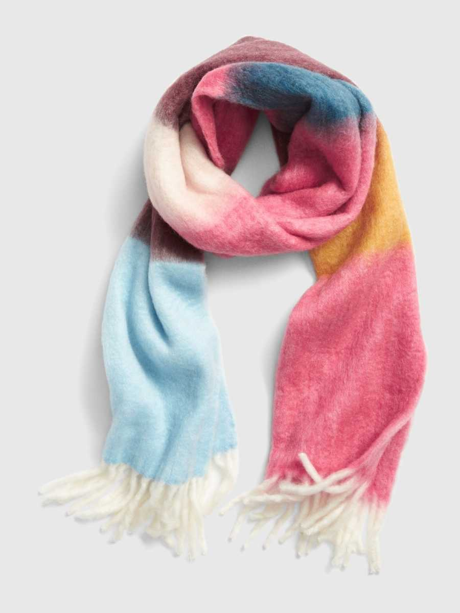 Brushed Colorblock Fringe Scarf Pink Multi - Gap - GOOFASH