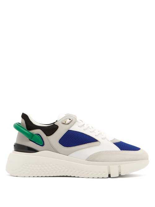 Buscemi - Veloce Leather And Suede Trainers - White White - Matches Fashion - GOOFASH